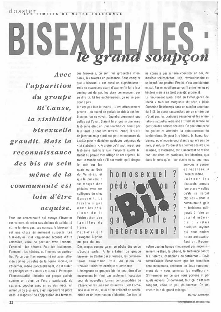 3 Keller 1998 Bisexuel-les le grand soupçon