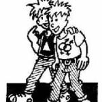 deux punk en couple se tenant par l'épaule. L'un a un triangle sur le tee-short, le deuxieme des symobole homm/femme entre mélés.