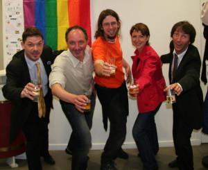 Les heureux élus du CA avec de gauche à droite, Jérôme, Michel, Agnès, Nicolas, Eric