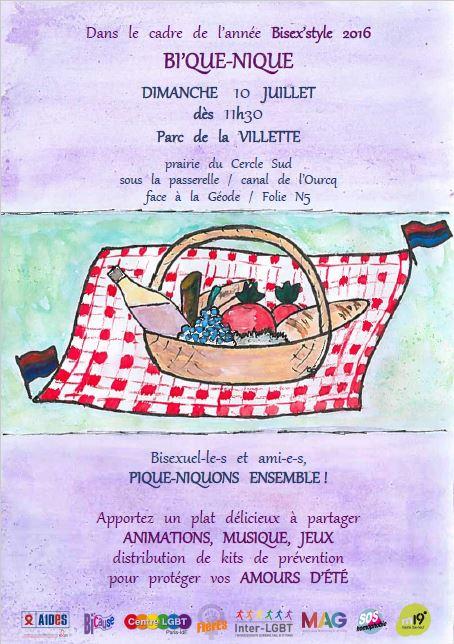 affiche pour le bi'que-nique du 10 juillet 2016 au parc de la vilette