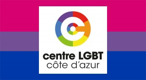 Logo du centre LGBT côte d'azur sur le drapeau bi