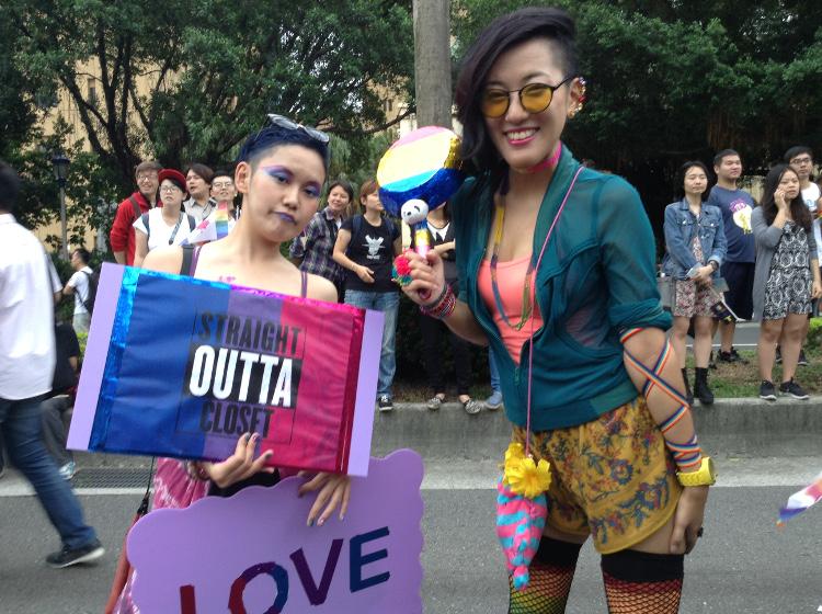 r3_deux bi japonaises, la Marche des fiertés Taïwan 2016