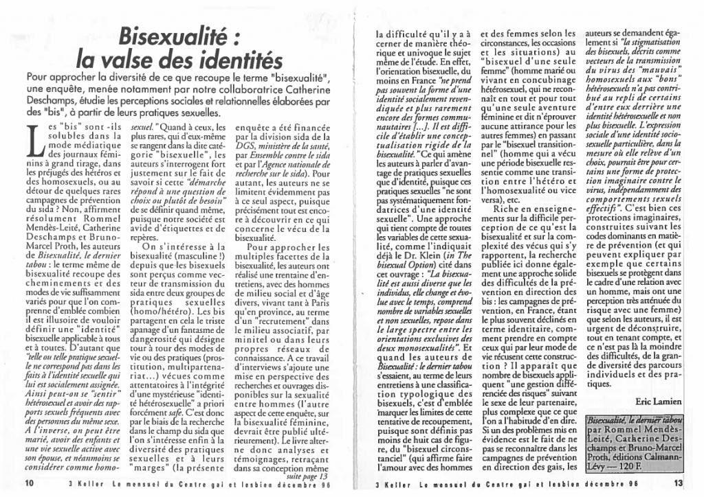3 Keller 1996 - Bisexualité la valse des identités