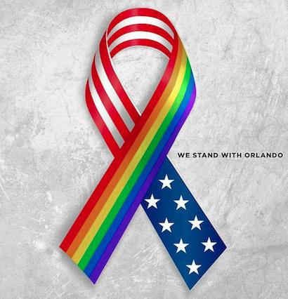 ruban aux couleurs mélangé du rainbow et du drapeau américain