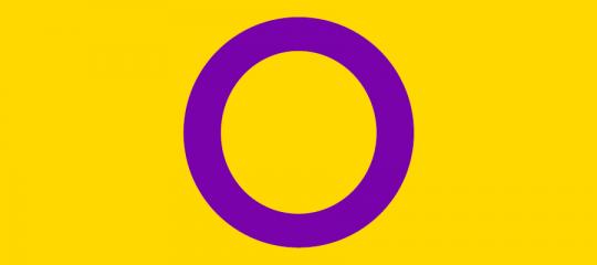 drapeau intersexe : un rond violet sur fond jaune